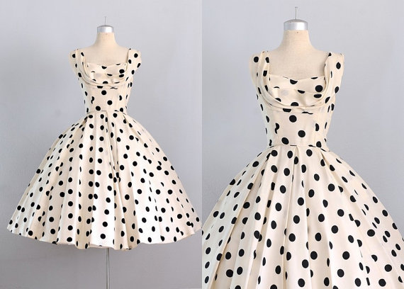 Vintage 1950s Silk Dress U2022 Ceil Chapman U2022 Pockets U2022 1950s Polka Dots Dress