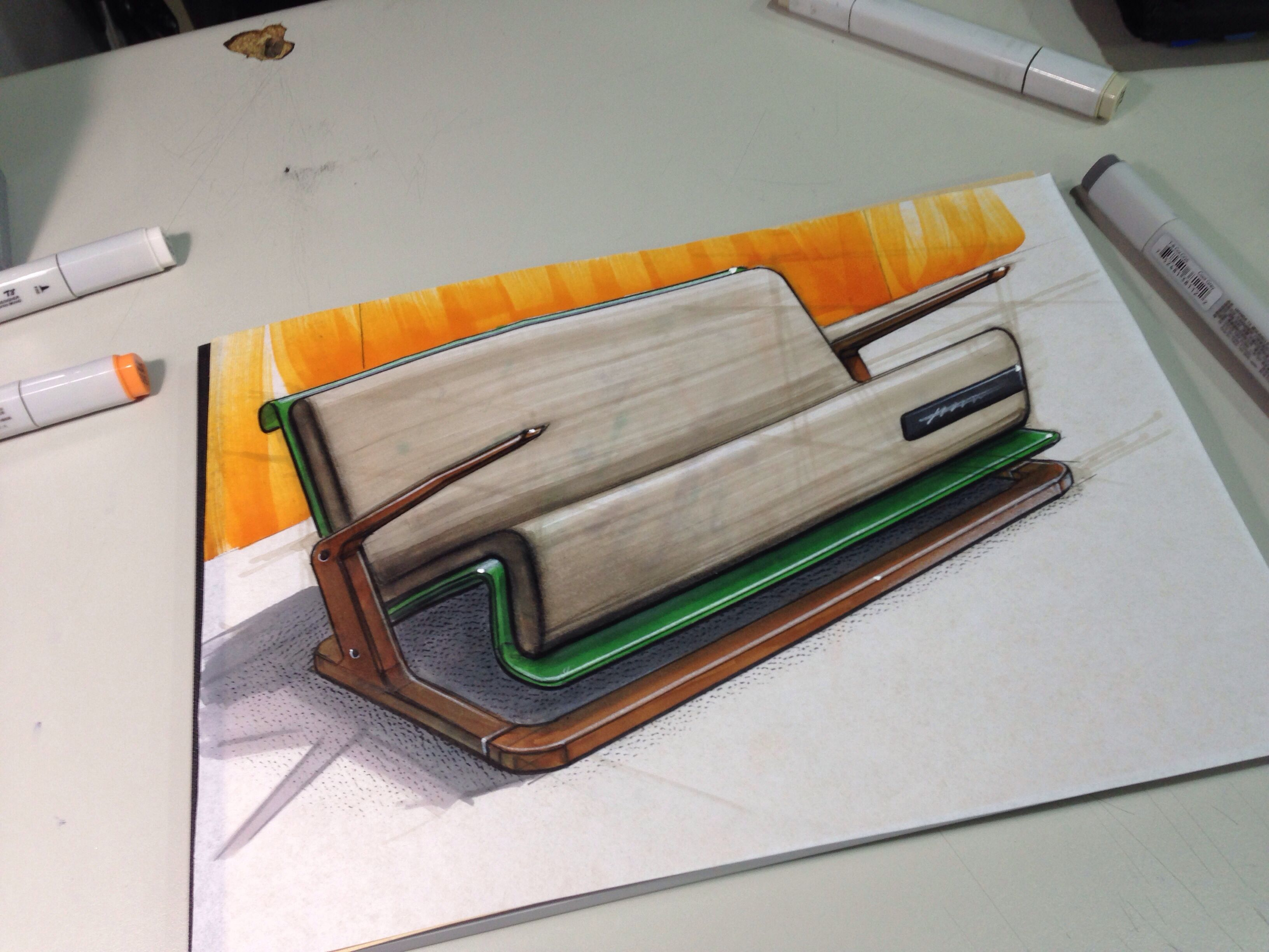 Sofa sketch with copic marker sketch pinterest for Sofa industriedesign