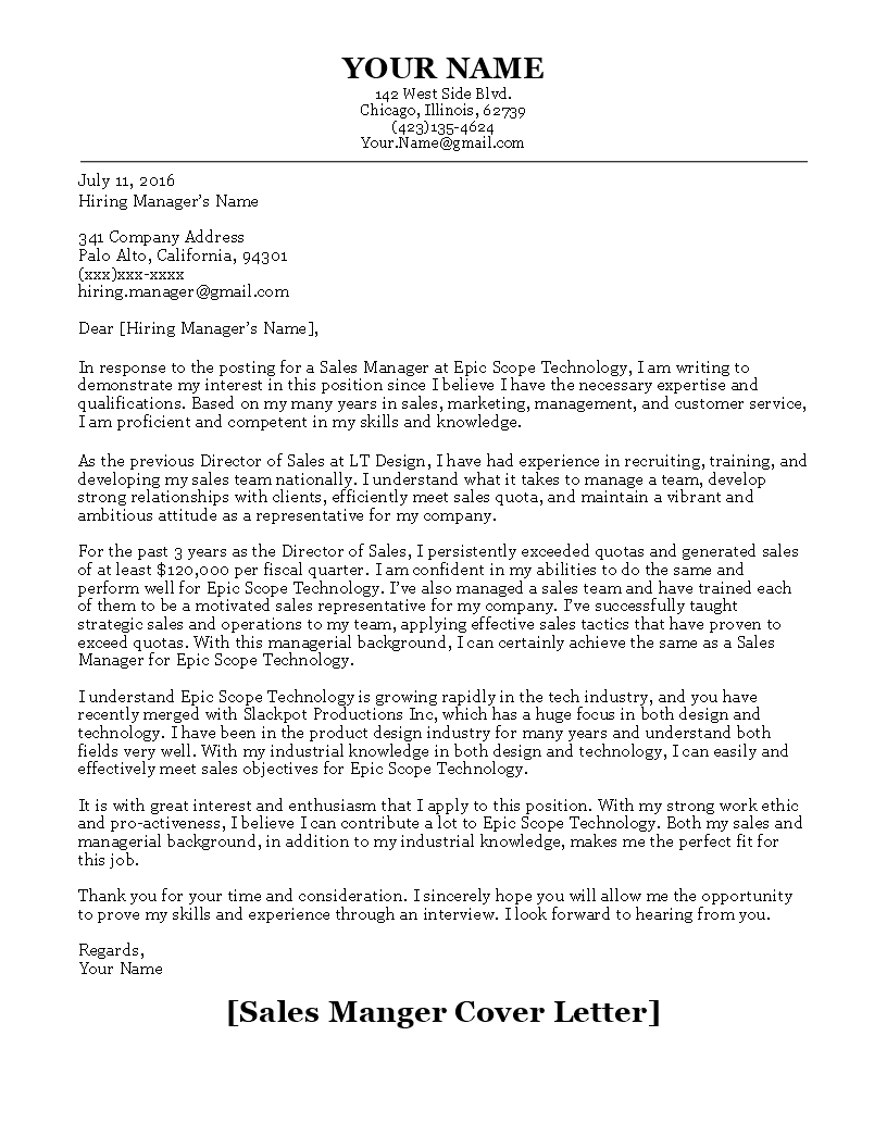 The Perfect Cover Letter Sales Manager Cover Letter   Templates  Pinterest  Letter