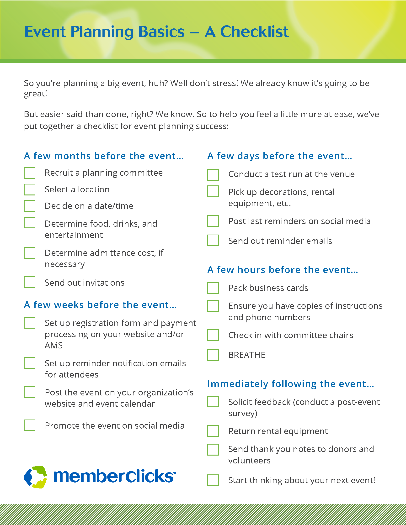 Even Planning Basics  A Checklist  Events