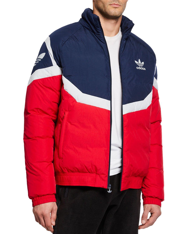 Adidas Originals Men S Colorblock Down Puffer Jacket In Red Modesens Jackets Men Fashion Jackets Adidas Men [ 1500 x 1200 Pixel ]