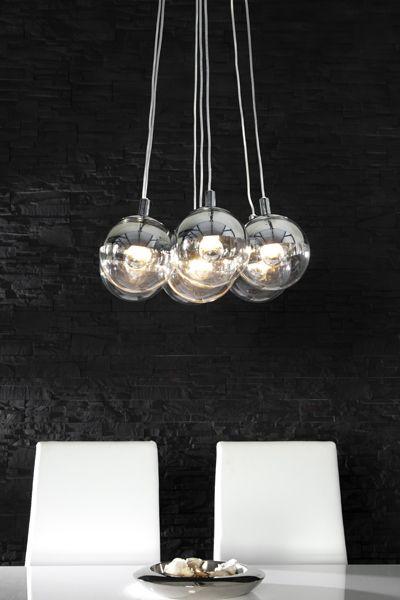 Design Hangelampe Galante Mit 7 Glaskugeln Chrom Pendelleuchte Bei
