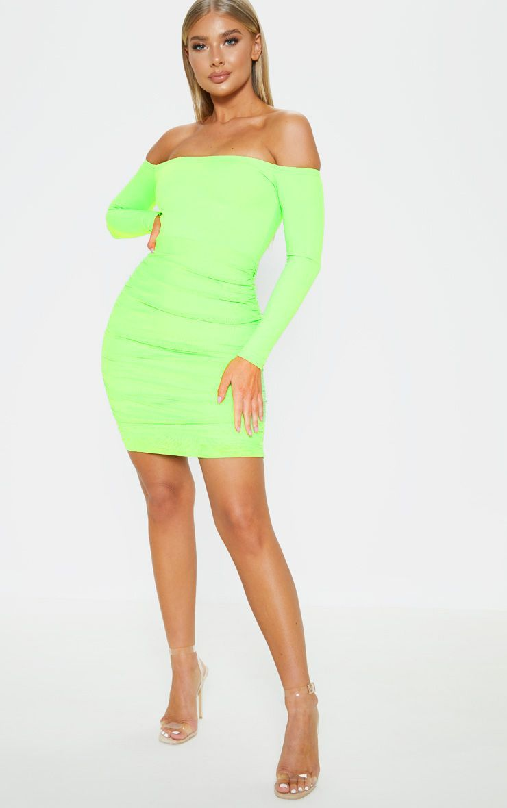 Neon Lime Bardot Long Sleeve Ruched Bodycon Dress Ruched Bodycon Dress Neon Green Dresses Bodycon Dress