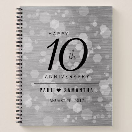 Elegant 10th Tin Wedding Anniversary Celebration Notebook Elegant Gifts Gift Id Anniversary Gift Diy Wedding Anniversary Celebration 10 Year Anniversary Gift