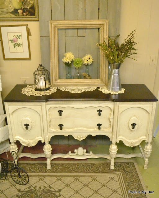 Dark Brown Chalk Paint Kitchen Cabinets: Painted With Old White, Then A Dark Glaze Over. Top