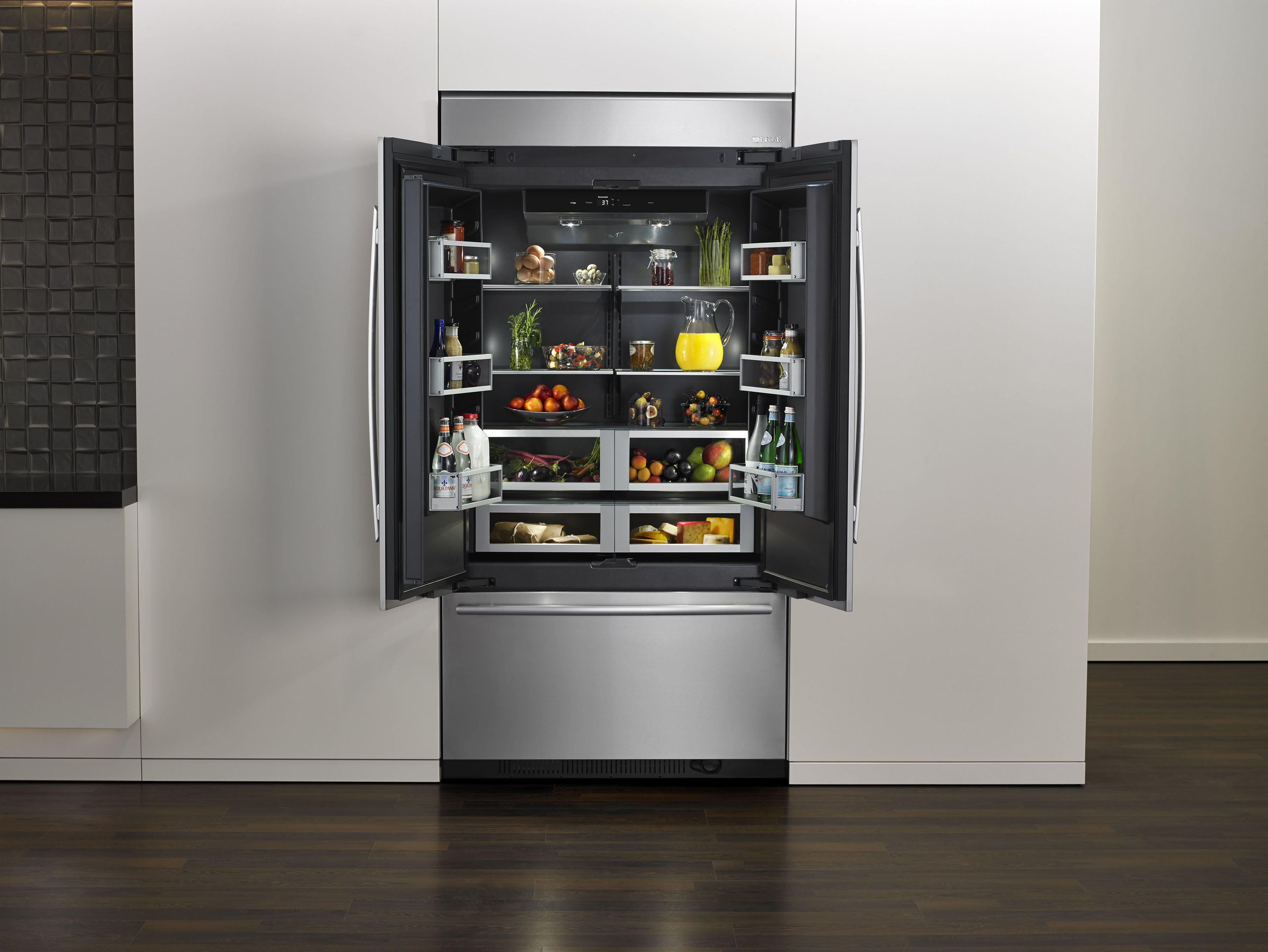 jenn air introduced a new black interior refrigerator it