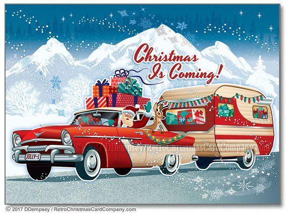 Santas Vintage Camper Christmas Cards, Package of 8 | Camper Christmas Cards | Travel Trailer Christmas Cards