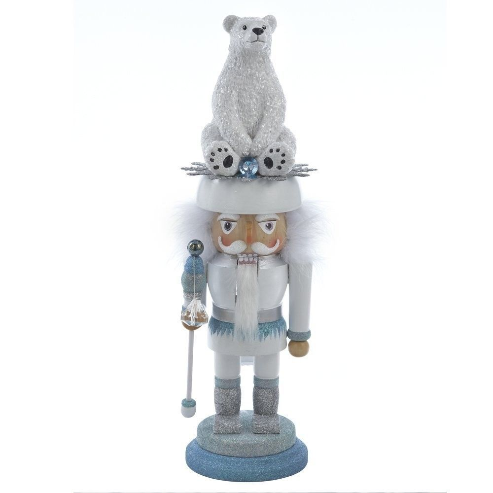 Kurt S. Adler Hollywood Blue Polar Bear Hat Guard Christmas Nutcracker, HA0098 #KurtAdler
