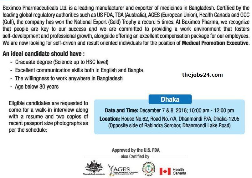 Beximco Pharmaceuticals Ltd Job Circular  Job Circular