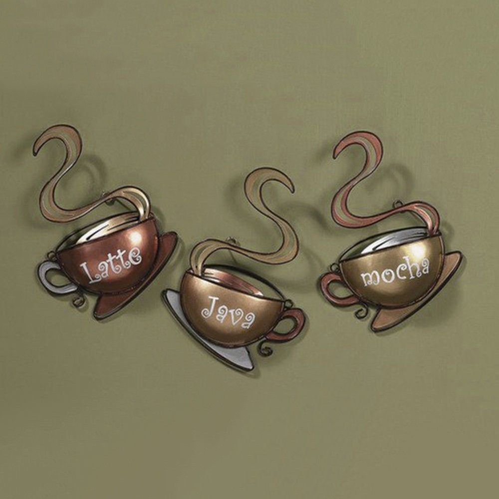 Coffee house cup design mug latte java mocha metal wall art home
