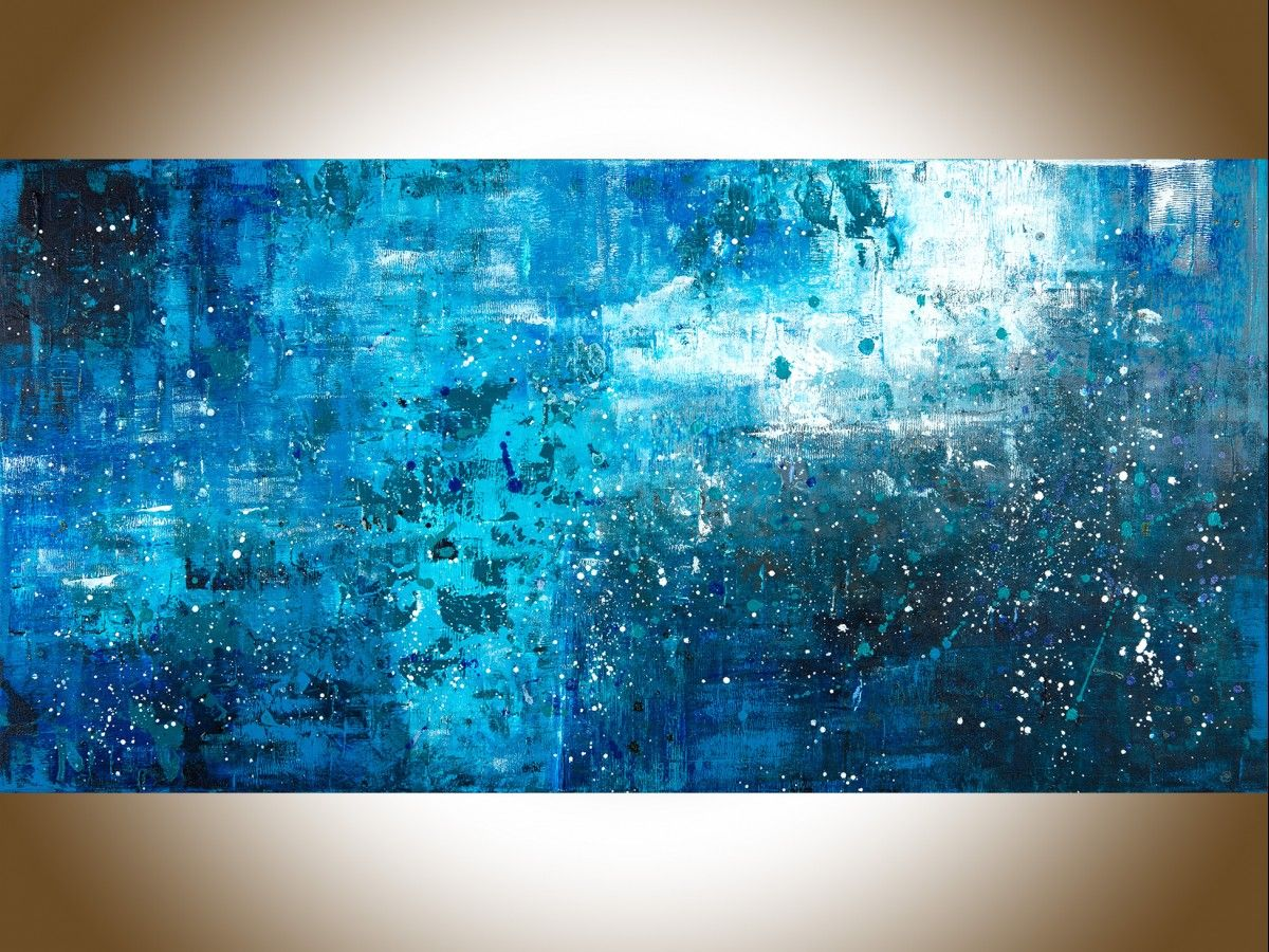 Pouring rain by qiqigallery 48 x 24 large wall art blue abstract original artwork canvas art wall art wall decor home decor wall hanging blue teal