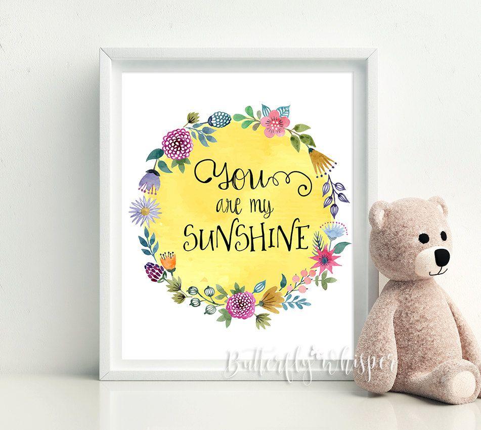 You are my sunshine, Nursery decor, Kidsroom wall art print decor ...