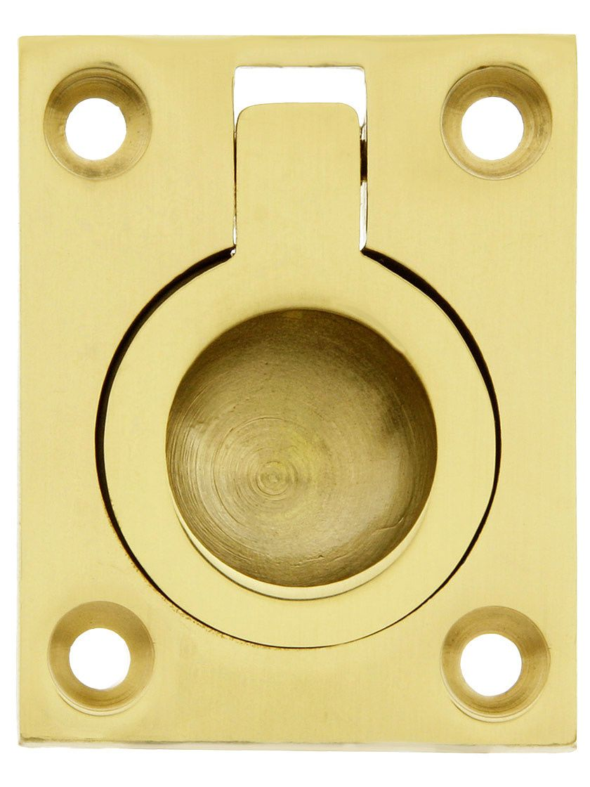 Small Solid Brass Flush Mount Ring Pull - 1 7/16\
