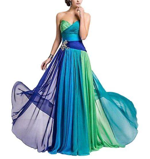 Bigood Bustier Form Damen Langes Kleid Abendkleid Cocktailkleid Bunt S