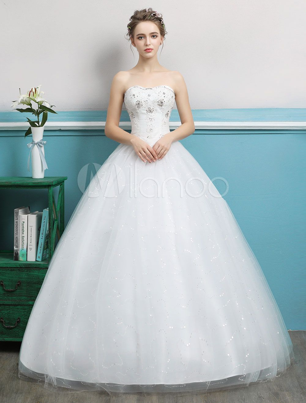 Princess Ball Gown Wedding Dresses Strapless Tulle Ivory Beading ...