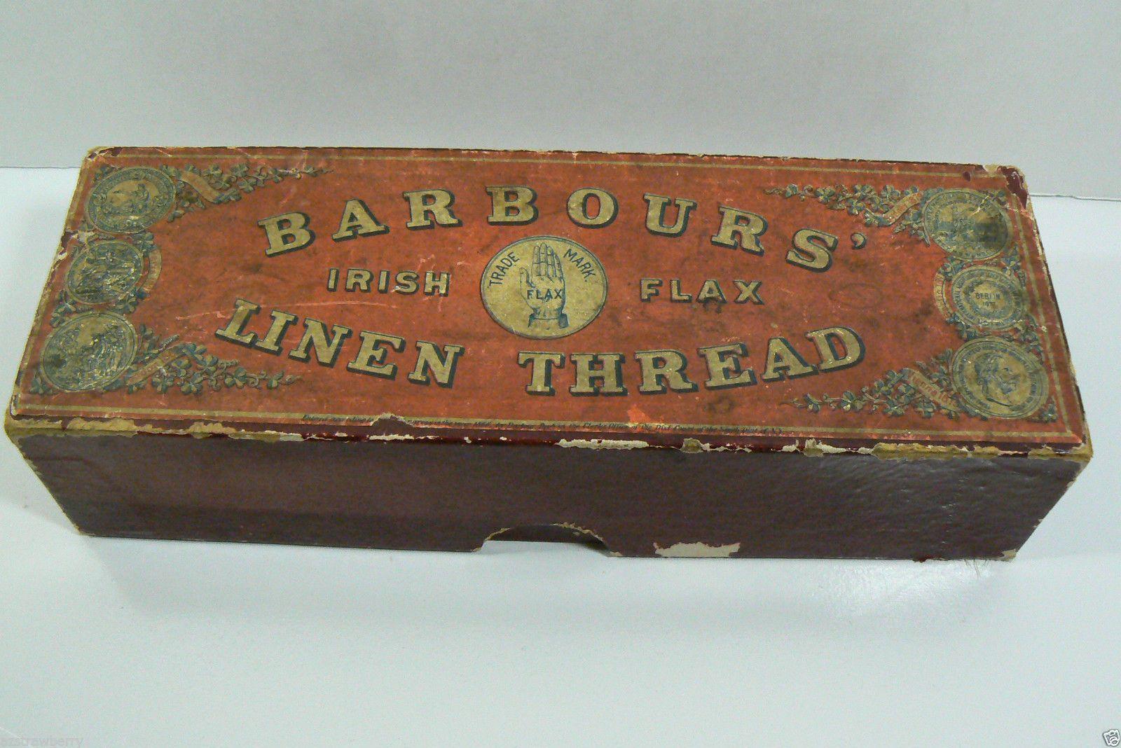 Barbour's Irish Flax Linen Thread Cardboard Box 1866 Old
