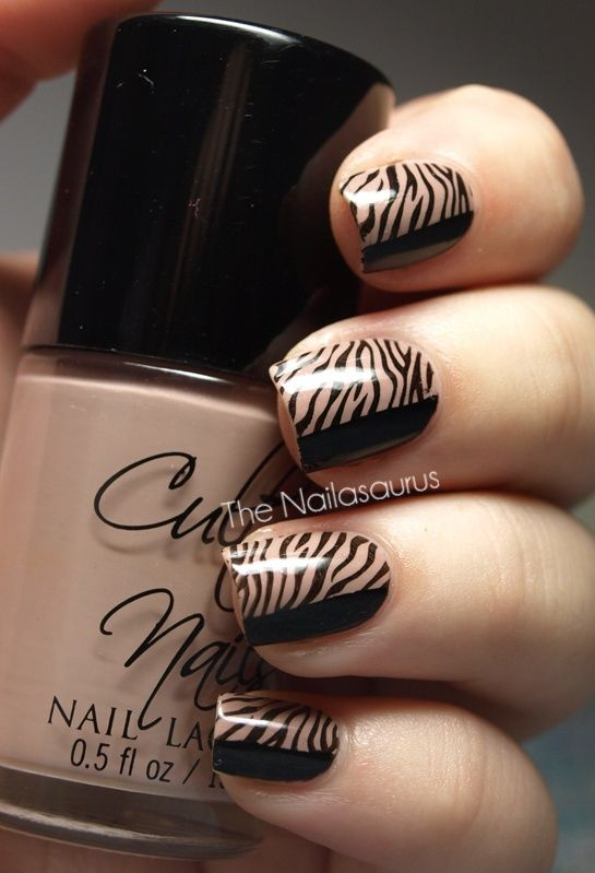 elegant zebra nails in black  nude