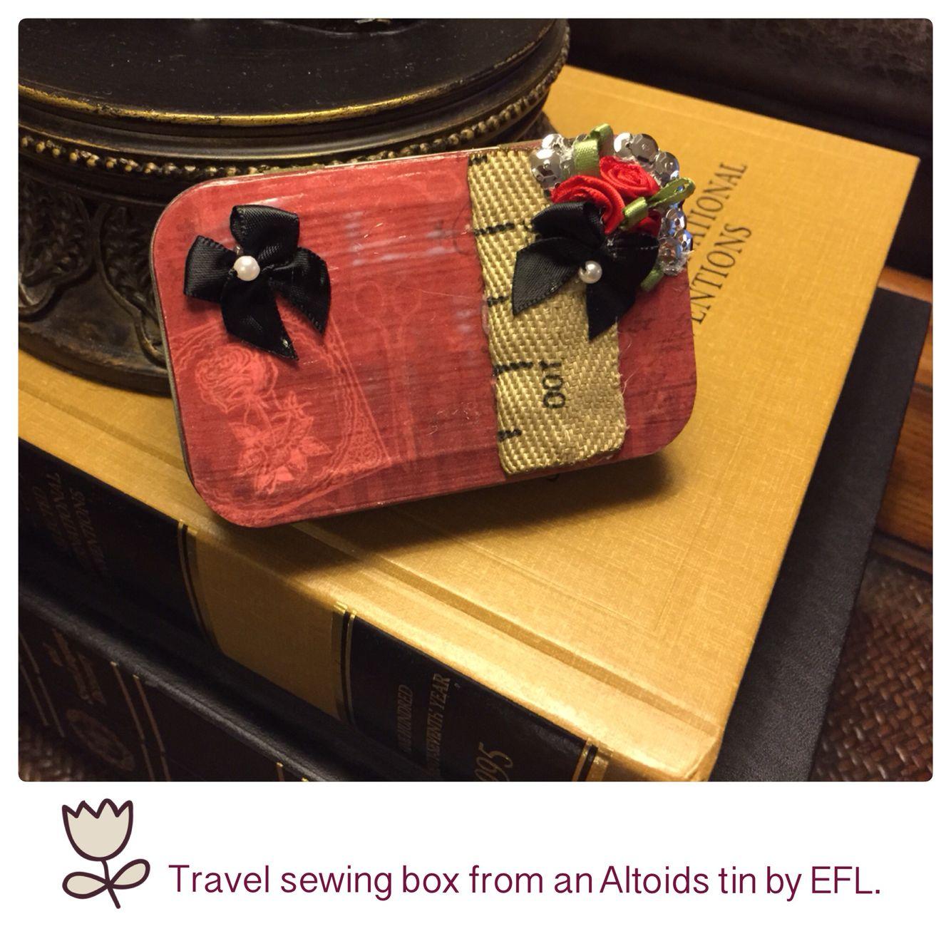 My DIY travel sewing box from an Altoids tin by EFL.