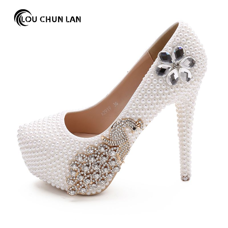 Shoes Women S Pumps White Rhinestone Pea Decoration Wedding Bridal High Heels Beading Flower