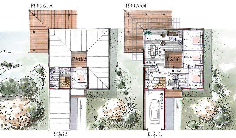 Maison OSSATURE BOIS à étage 115 m² 4 chambres Patios - plan de maison a etage moderne