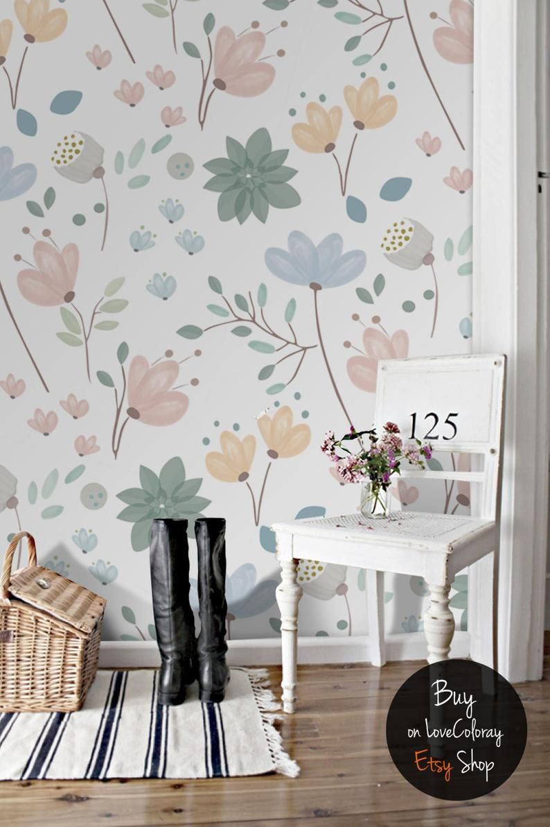 Spring Field Flowers Wallpaper Removable Wallpaper Etsy