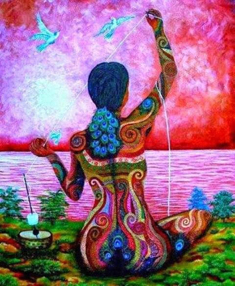 Mujer Tejiendo Arte De La Diosa Arte Inspirador Arte Asombroso