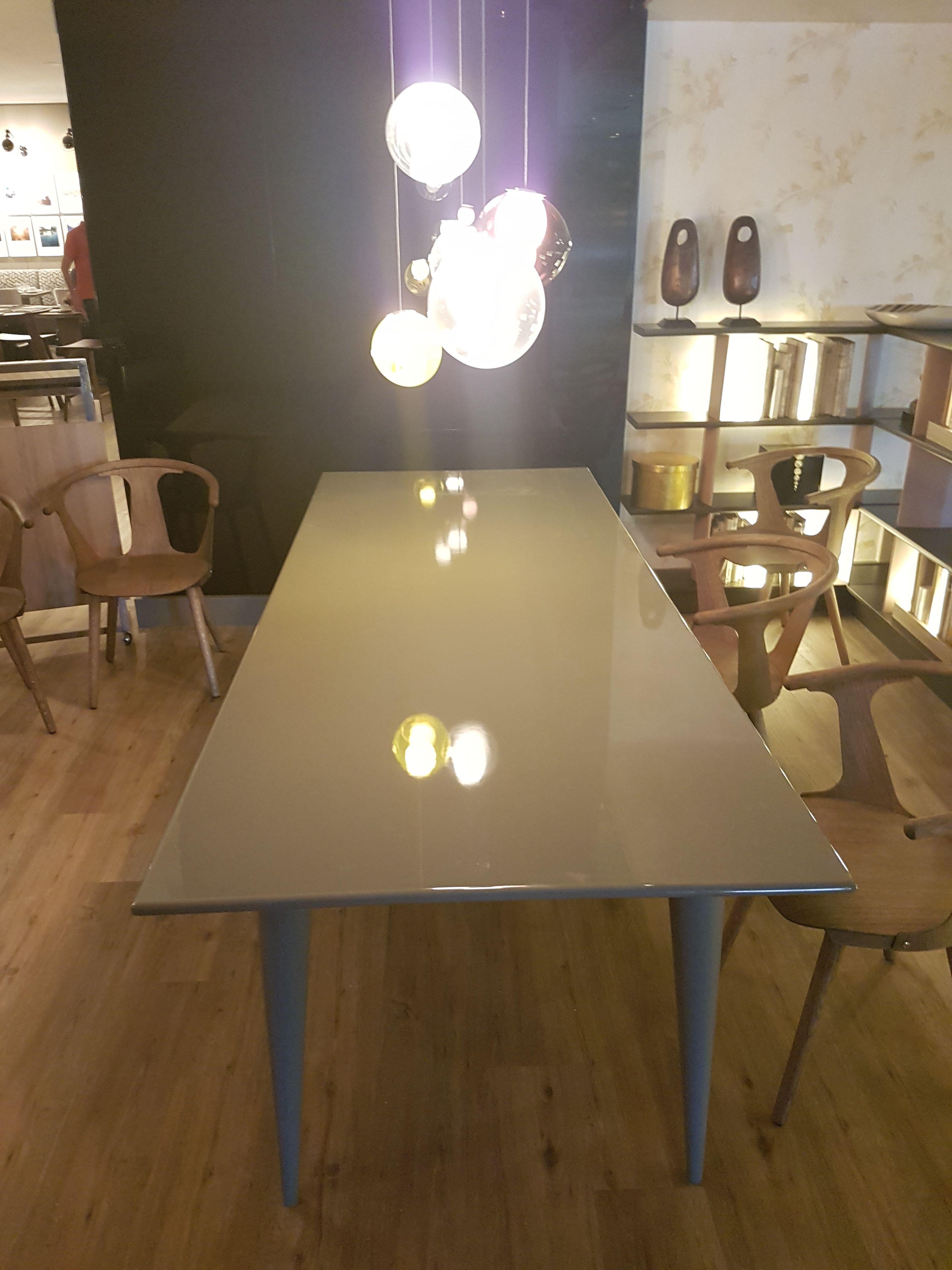 Mesa De Tablero De Dm Lacada En Alto Brillo Con Efecto Espejo  # Muebles Efecto Espejo