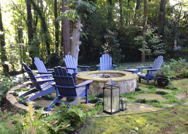 Stone Fire Pit With Canyon Creek Stepping Stone Surround Joints