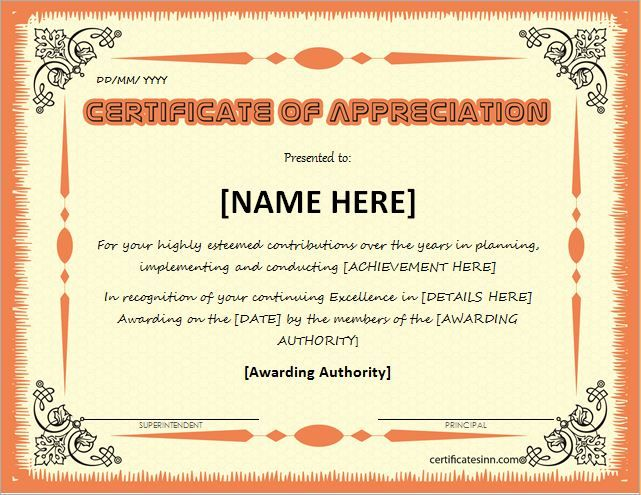 Certificate of Appreciation for MS Word DOWNLOAD at   - copy certificate of appreciation for teachers