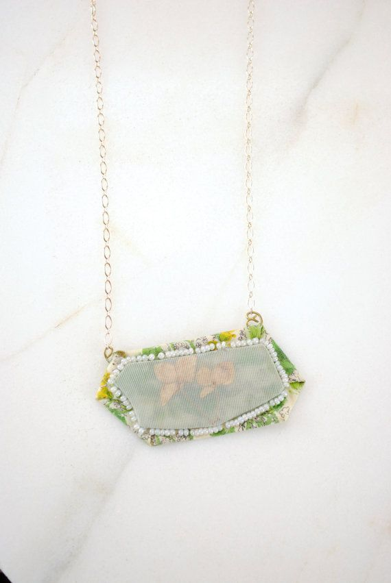 Mixed Media Necklace. Sterling Silver Chain by PrettyRuggedDesigns