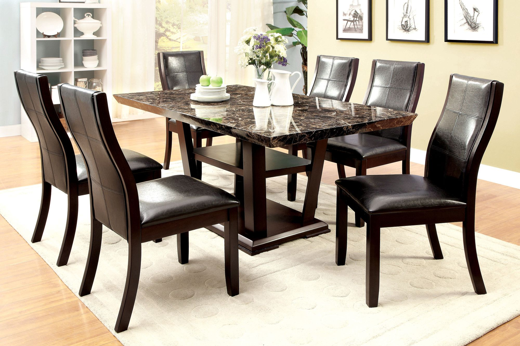 7 Piece Evelyn Dining Set Dining Table Marble Faux Marble