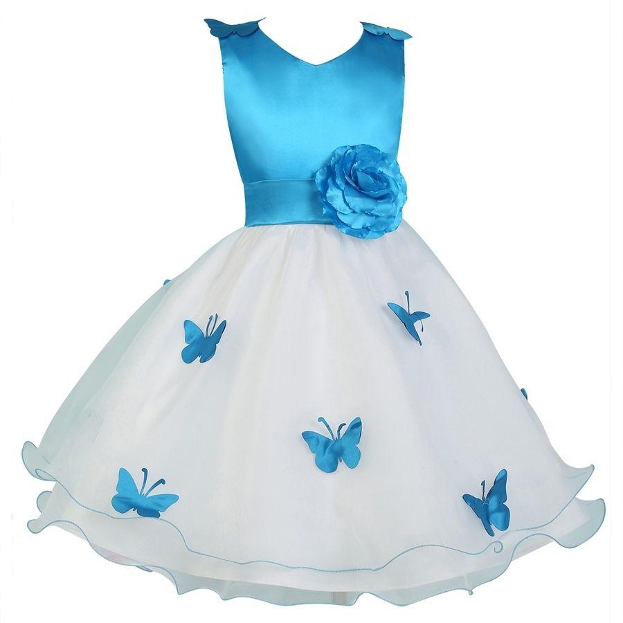 Graceful Cute Butterfly Applique Flower Girl Dress Wedding Party ...