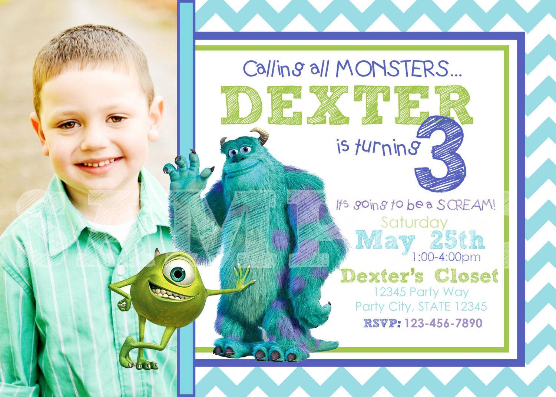 Monsters Inc Birthday Invitation Printable Photo Invitation