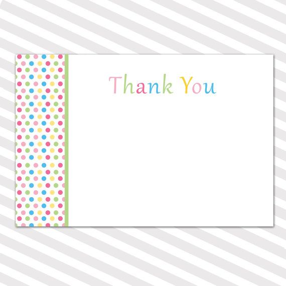 Printable Thank You Card With Polka Dots Candy Theme Thank You Card