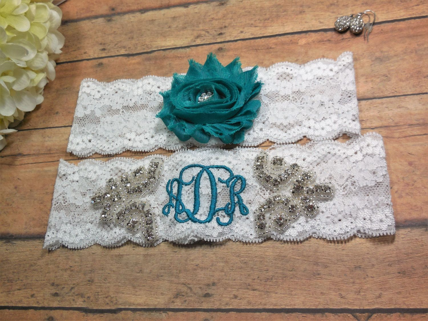 Monogrammed Garter, Teal Garter, Turquoise Garter, Rhinestone Garter, Bling Garter, Garter, Personalized Garter, Wedding, Custom Garter by BloomsandBlessings on Etsy