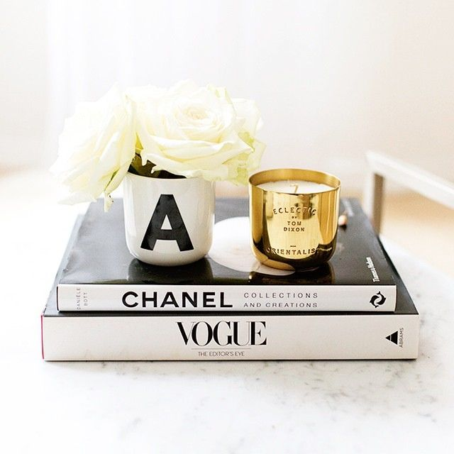 Old Coffee Table Books: Coffee Table / Fashion Books / Candle / Flowers