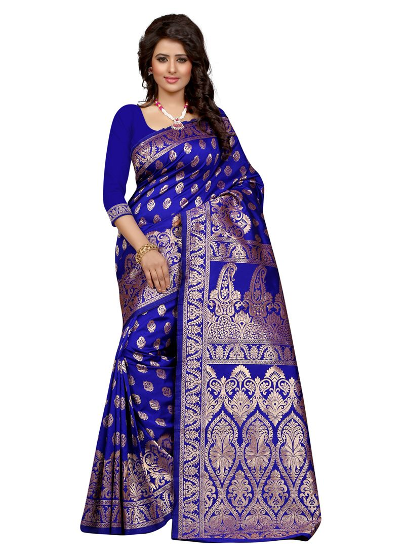 074be2ffef Latest royal blue colour printed banarasi silk saree | Exclusive ...
