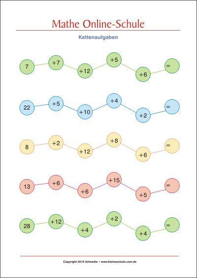 Addieren bis 100 - Kettenaufgaben - Kostenlose Mathe Arbeitsblätter ...