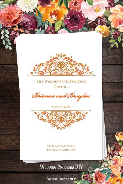 wedding program template grace bronze orange program template