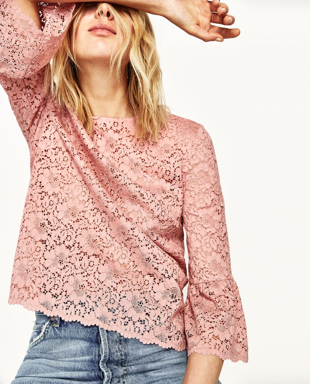 LACE TOP WITH FRILLED SLEEVES   blusas   Pinterest   Volantes, Zara ...