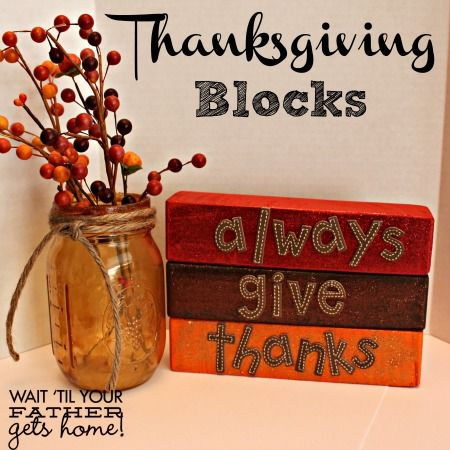 Thanksgiving blocks sprap wood acrylic paint an for Acrylic paint for wood crafts