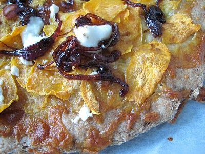 Sweet Potato Pizza with Chèvre and Caramellized Onions