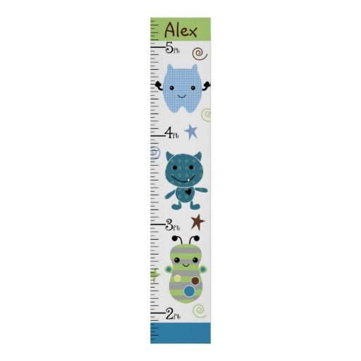 Personalized Peek A Boo Monsters Growth Chart Posters