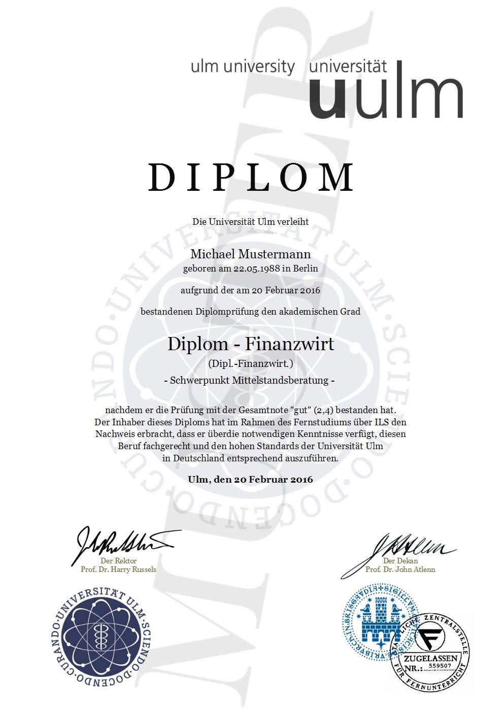 Diplom Urkunde online erstellen, gestalten und ausdrucken, Deutsche ...