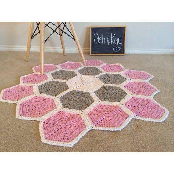 Handmade Crochet Rug Pink Rug Pink Carpet Nursery: Handmade Crochet Floor Rug - Hexagon