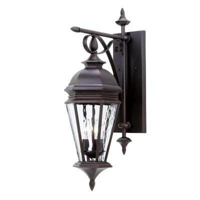 Hampton Bay Georgetown 3 Light Bronze Outdoor Wall Lantern Home The O 39