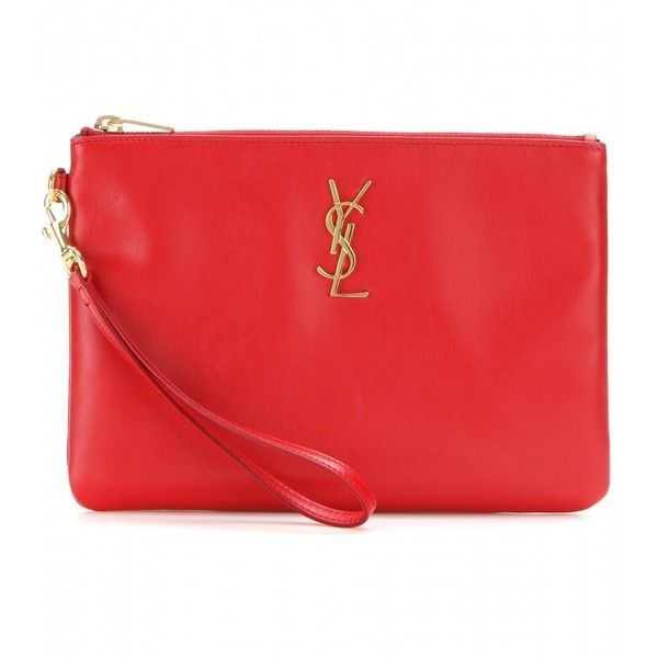 Saint Laurent Leather Clutch (665 AUD) ❤ liked on Polyvore