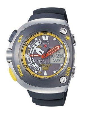 e898cc8849c Citizen Diver Depth Meter Promaster Cyber Aqualand Titanium World Timer  JV0055-00E JV0055