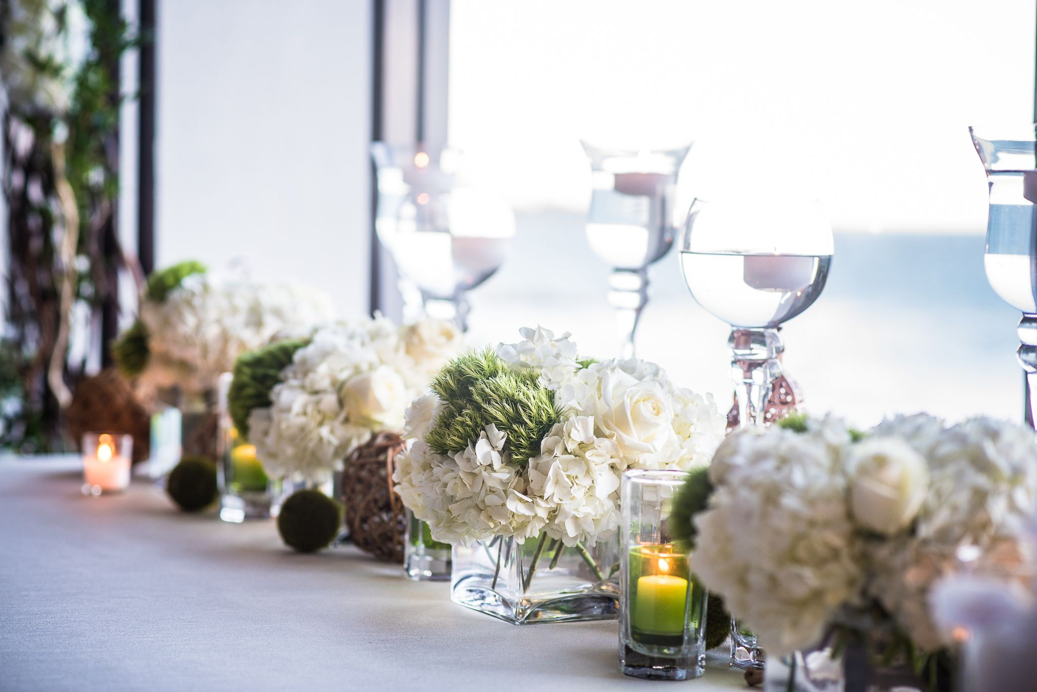 CD Florals: Bridal table decorated with white Hydrangeas, white ...