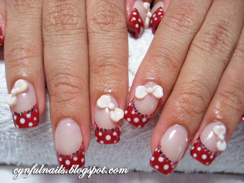 Gel Polka Dots Cute White French Tip Nail Designs Nails